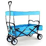 FUXTEC faltbarer Bollerwagen FX-BW100 blau klappbar mit Dach, Vorderrad-Bremse, Strand-Reifen, Hecktasche, für Kinder geeignet