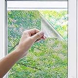 Uiter Spiegelfolie Selbstklebend Sichtschutzfolie - Anti UV Statik Fensterfolie 100% Lichtschutz Privatsphäre Entfernbar Dekoration Hitze Wärmeschutzglas Tönung Heimbüro Fenster. (44.5x200cm, Silber)
