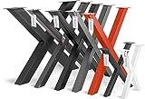 HOLZBRINK Tischkufen X-Form aus Vierkantprofilen 40x40 mm, x-förmiges Tischgestell 30x43 cm, Anthrazitgrau, HLT-03-F-AA-7016