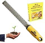 Rummershof Premium Zester Küchenreibe gelb: Parmesanreibe, Zitronenreibe, Muskatnuss Reibe, Ingwerreibe - inkl. Schutzhülle und E-Book'101 Praktische Kochtipps' + ein gepflanzter Baum