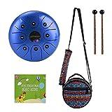 Steel Tongue Drum,ammoon 5,5-Zoll-Schlaginstrument, 8-Noten-Blau-Trommeltrommel mit Trommelstöcken und Hammerkoffer für Meditation, Yoga, Musiktherapie, Camping