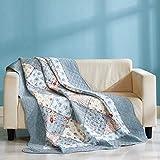 Qucover Patchworkdecke Tagesdecke Baumwolle 140x200cm Gesteppte Zweiseitige Decke Blaue Bettüberwurf 150x200cm für Einzelbett Kleine Sofadecke im Landhausstil mit Blumenmuster