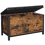VASAGLE Sitzbank mit Stauraum, gepolsterte Truhe, 80 x 40 x 50 cm, Betttruhe, Flur, Schlafzimmer, Wohnzimmer, Metall, einfacher Aufbau, Industrie-Design, Kunstleder, vintagebraun-schwarz LSC80BX