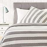Amazon Basics - Bettwäsche-Set, Jersey, breite Streifen, 155 x 220 cm / 80 x 80 cm, Grau