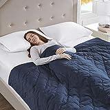 Gewichtsdecke für Erwachsene Therapiedecke mit gestepptem Baumwolle Bezug Schafdecke Schwer Weighted Blanket Schwere Decke Blau, 150x177cm, 8.1kg