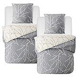 BEDSURE Bettwäsche 135x200 4 teilig Baumwolle - Grau/Beige Bettbezug Set mit schickem Zweige Muster, weiche Bettbezüge mit Reißverschluss und 2 mal 80x80cm Kissenbezug
