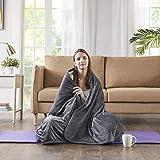 Gewichtsdecke für Erwachsene Therapiedecke mit Luxury Velvet Bezug Schwere Decke Weighted Blanket Schafdecke Schwer Charcoal, 150x200cm, 6.7KG