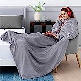 BEDSURE Ärmeldecke hellgrau Kuscheldecke mit Ärmeln - 170x200 cm, Sweatshirt Decke Ärmel zum Anziehen Erwachsene, Ganzkörperdecke mit Ärmel tragbar extra weich als TV Decke