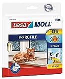 tesamoll P-Profil Gummidichtung - Selbstklebende Dichtung zum Isolieren von Spalten an Fenstern und Türen - Weiß - 10 m x 9 mm x 5,5 mm