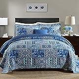 Qucover Tagesdecke Blau 180x220cm, Vintage Bettüberwurf Sofaüberwurf, Gesteppte Patchworkdecke aus Baumwolle & Polyester, Sommerdecke mit Kissen
