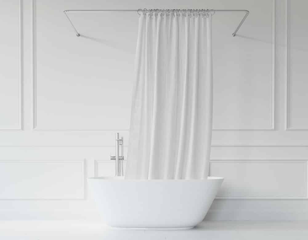 Eine Duschvorhangstange ohne Bohren hinterlässt keine Löcher in der Wand