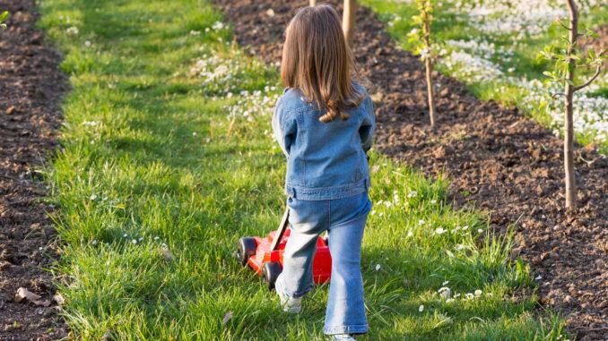 Ein Kind schiebt mit dem Rücken zur betrachtenden Person einen Spielzeugrasenmäher auf einem Rasenstreifen zwischen Reihen mit jungen Bäumen.