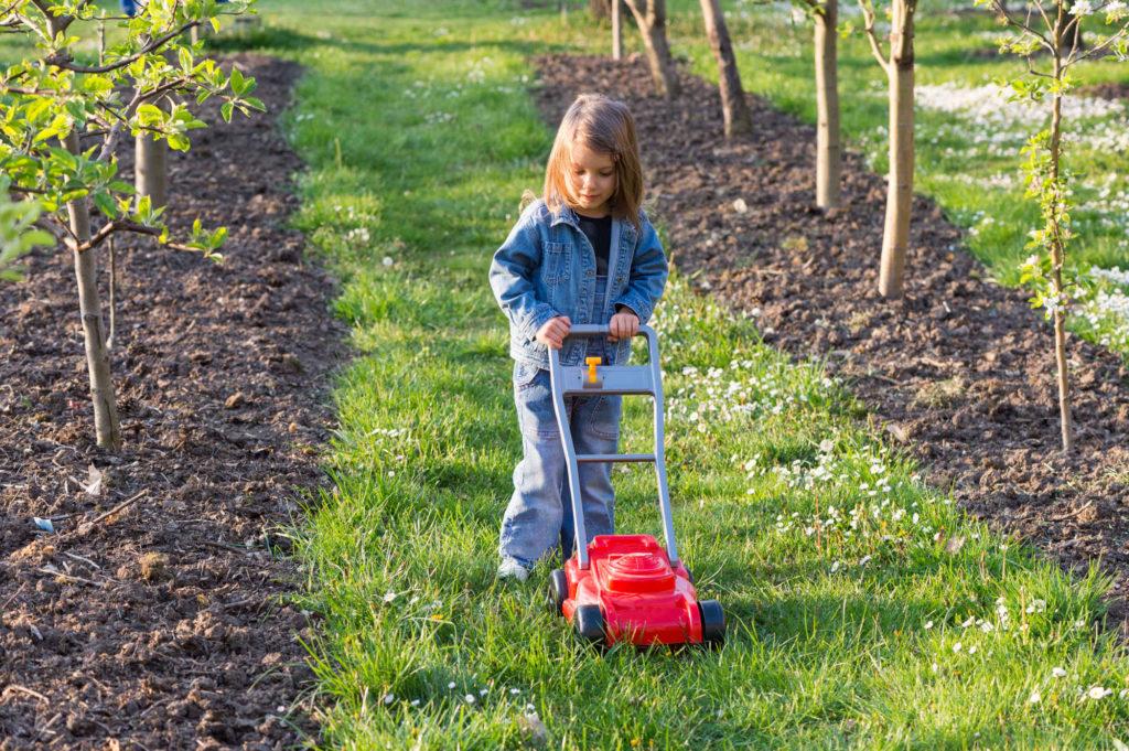 Ein Kind schiebt einen Spielzeugrasenmäher auf einem Rasenstreifen zwischen zwei Reihen mit jungen Bäumen.
